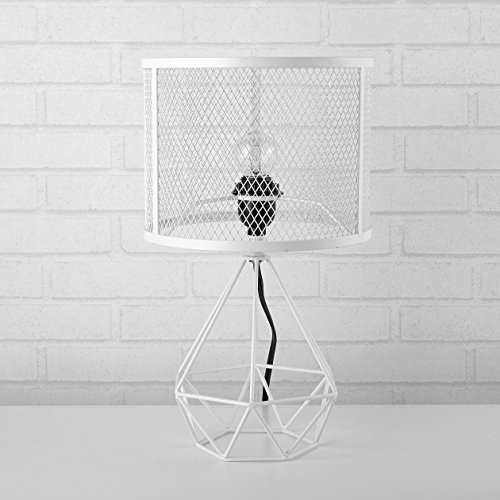 - Urban Shop 784857777123 Perforated Geo Table Lamp, White