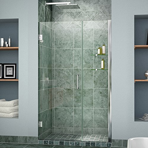 DreamLine Unidoor Min 57 in. to Max 58 in. Frameless Hinged Shower Door in Chrome finish, SHDR-20577210S-01