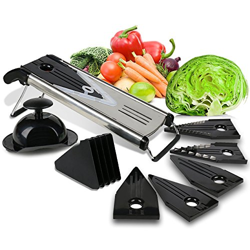 Premium Mandoline Fruit & Vegetable Cutter for Home and Business-Cheese Grater, Potato Slicer | Vegetable Chopper: Includes 5 Inserts (Black), Blade Guard, Finger Guard | Free Recipe E-Books Mandolin Potato Slicer