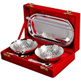 Jaipur Ace Silver Plated Brass Bowl With Tray Set Of 5 Pieces (Abs00006 )