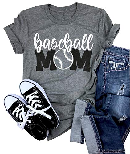 (Baseball Mom Shirt Women's Short Sleeve O-Neck Letters Print Casual Tops Tees Size M)