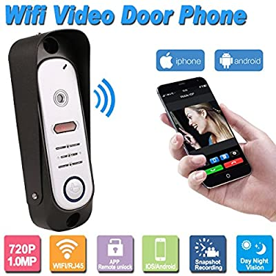 TIVDIO Wireless WiFi Smart Video Door Phone with HD 720P 1.0MP Door Phone Control Intercom Outdoor Camera IP Doorphone Doorbell System Onvif P2P