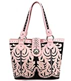 Montana West Concealed Carry, Boot Scroll Western Tote -Pink