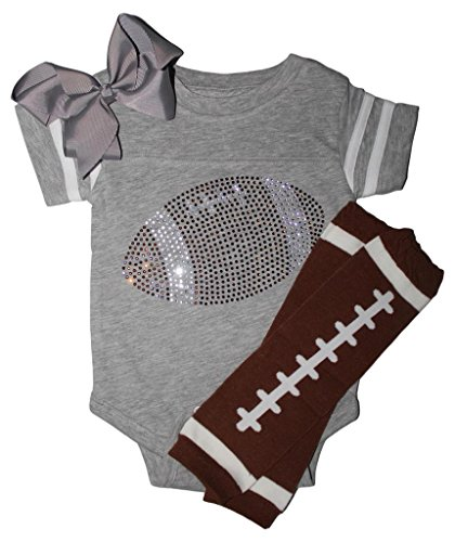 FanGarb Rhinestone Infant Toddler Baby Girls Football Grey Team Color Outfit 6mo -