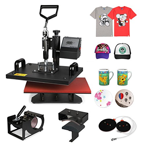 ShareProfit Heat Presses Hat Press Heat Press Machine for T Shirts Cup Mug 5 in 1 Multifunctional Transfer Sublimation T Shirt Press Machine (5 in 1)