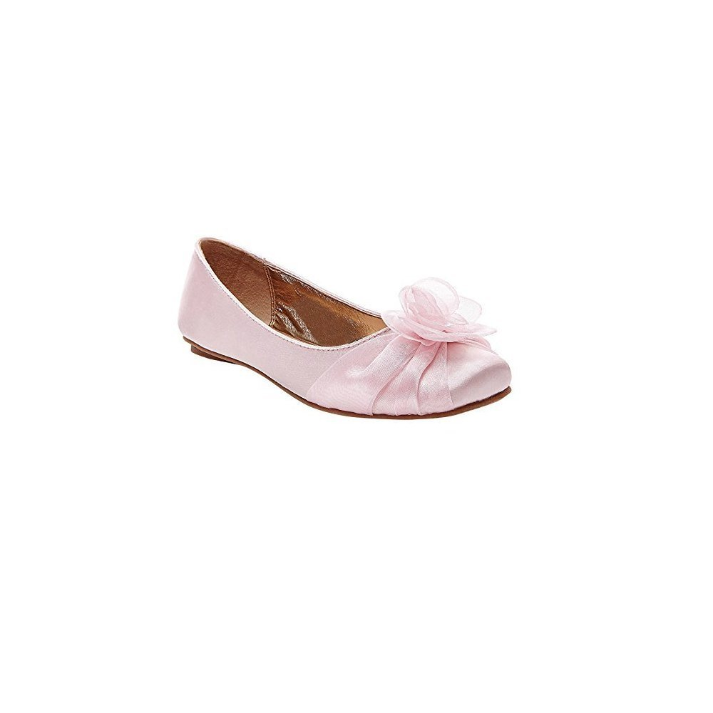 Tevolio Girls Alicea Satin Floral Ballet Flats Size 5