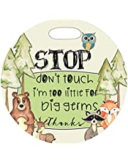 Mumsy Goose Woodland - Stop Don't Touch Forest Critters Newborn Baby Car Seat Tag Stroller Sign Preemie Baby Car Carrier Sign