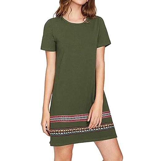 iQKA Women Shirt Dress Plus Size Casual Solid O-Neck Short Sleeve Mini  Dress Vestido Summer Beach Dress