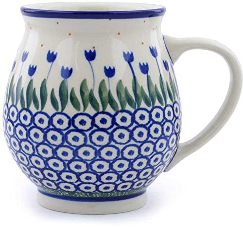Polish Pottery 14 oz Bubble Mug made by Ceramika Artystyczna (Water Tulip Theme) + Certificate of Authenticity