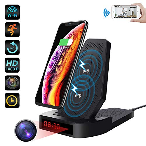 Spy Hidden Camera Wireless Charger ZXWDDP WiFi 1080p Camera Hidden Nanny Cam with Motion Detection/Height Adjustment/Loop Recording/Mobile Phone Remote Monitoring Support iOS/Android