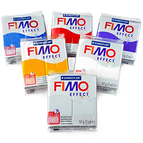 - FIMO Effect Polymer Oven Modelling Clay - 57g - Set of 6 - Glitter Finish