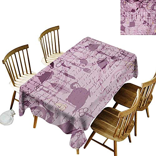 Cranekey 100% Polyester Washable Tablecloth for Rectangular Tables W52 x L70 Tea Party Grungy Hanging Tea Cups Clocks and Cutlery Hand Writing Calligraphy Dried Rose Pink Yellow Great for Coffee ()