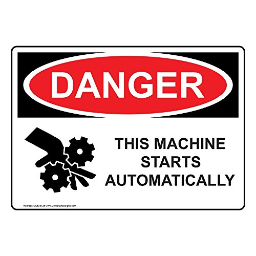 Danger This Machine Starts Automatically OSHA Safety Label Decal, 5x3.5 in. 4-Pack Vinyl by ComplianceSigns