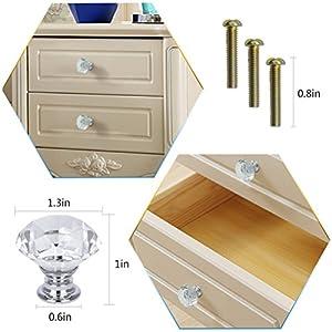 Dxhycc 10 Pcs Crystal Glass Cabinet Knobs 30mm Diamond Shape Drawer Kitchen Cabinets Dresser Cupboard Wardrobe Pulls Handles