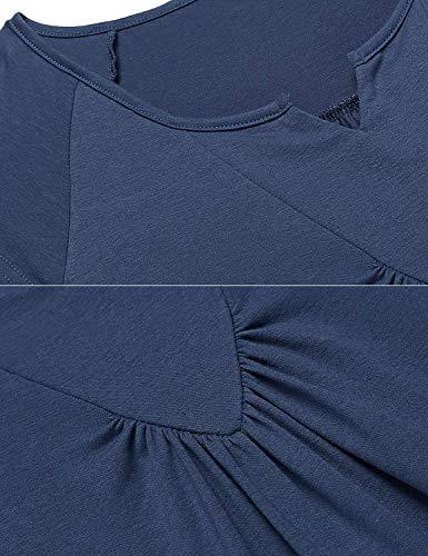 El Con Las Maxi Completa Sche Vestidos Moda Sueño Algodón De Señoras Navy blau Máscara Ojos Caliente Del Vestido Manga 28 Noche Corta Camisón Calentamiento a0qS5IT