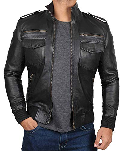 Decrum Black Bomber Leather Jacket Men | [1100453] Nine Nine, M