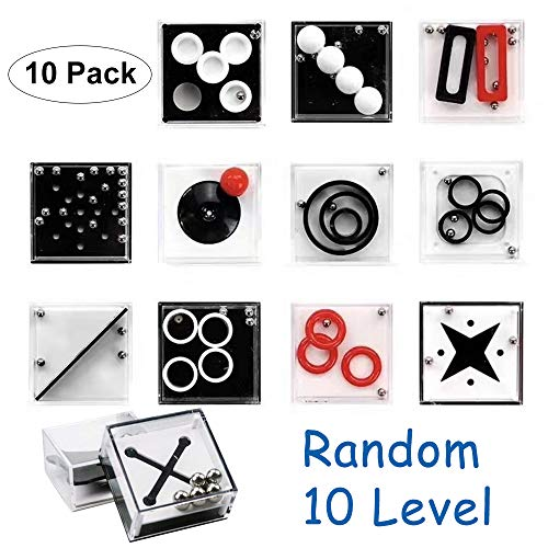 10 Pcs Fidget Puzzle Boxes Toys Mini Brain Teaser for Kids Boys Adults, Balance Ball Game Challenge Educational Intelligence Anxiety Stress ADD/ADHD Release Toy Party Favor Gift Ideas-10 Medium Level by LANDYLO