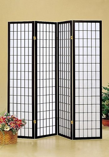 Coaster Home Furnishings Oriental Shoji 4 Panel Folding Privacy Screen Room Divider - Black by Coaster Home Furnishings (Image #3)