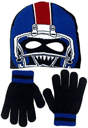 Polar Wear Boy's Monster Football Player Knit Beanie with Eye Holes & Gloves Set (Royal Blue-Black) (Joker Jack Child Costume)