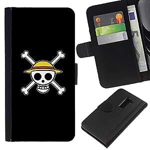 All Phone Most Case / Oferta Especial Cáscara Funda de cuero Monedero Cubierta de proteccion Caso / Wallet Case for LG G2 D800 // Design Happy Skull Smiley