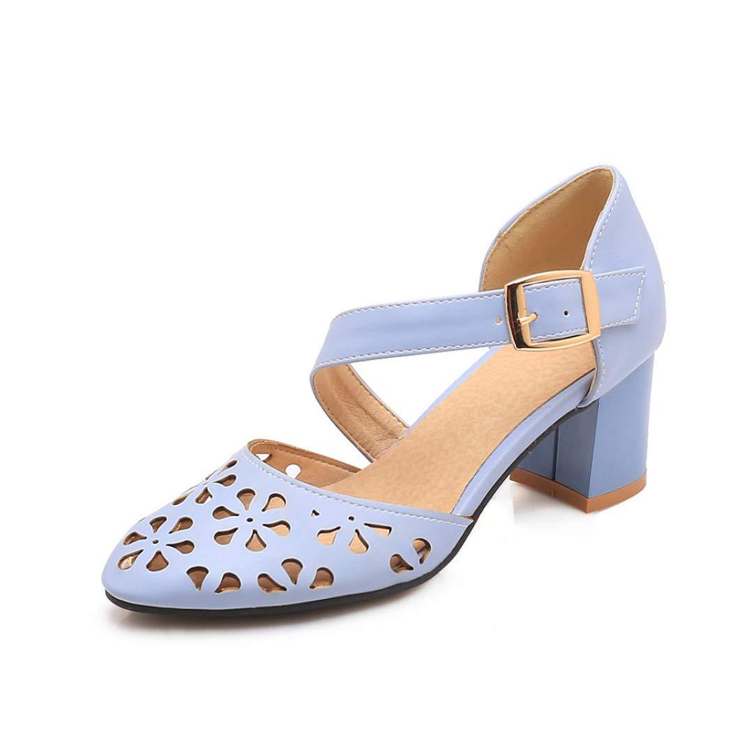 Sky bluee JOYBI Women Closed Toe Dress Sandals Buckle Hollow Slip On Cut Out Summer Thick Heel Pumps Sandal shoes