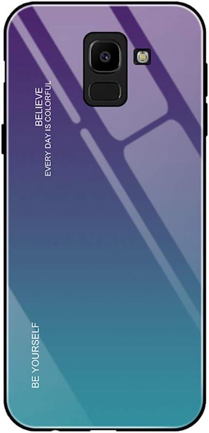 Yunbaozi Degradado de Color Funda para Samsung Galaxy A6 2018, Espalda Vidrio Templado Último con Encuadrar Silicona Suave Real Glass Absorción de Impacto Samsung Galaxy A6 2018 Case Verde y Púrpura