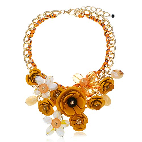 HoBST Flower Statement Necklace Choker Chunky Pendant (Yellow)