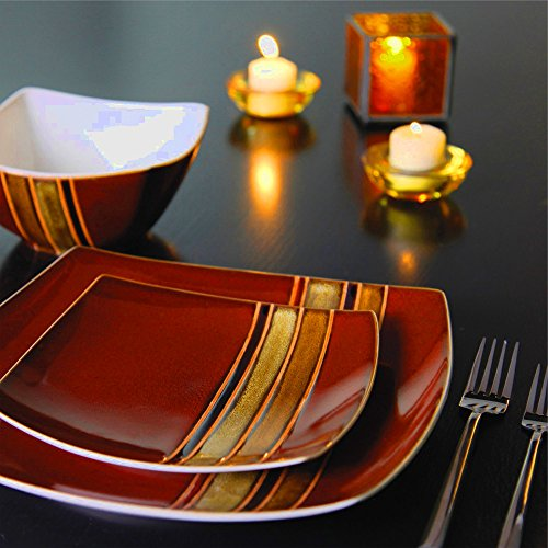 Brown Square Dinnerware Set Livingware Everyday Stoneware Modern Dishes Set Of 16 & E book By Easy2Find by STS SUPPLIES LTD