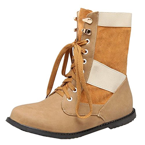 COOLCEPT Women Boots Lace Up 80 Yellow aMMuJ3HrDq