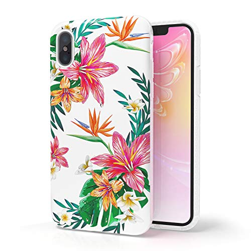 iPhone X Case,iPhone Xs Case for Women/Girl,Mazoper Cute Floral Flower Printed Design Thin Anti-Scratch Shockproof with TPU Bumper Protective Cover for iPhone X/iPhone Xs(Color1)