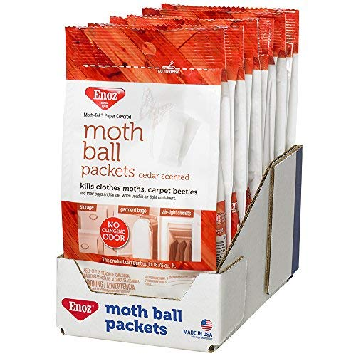 Enoz Moth Ball Packets - Ceder Scented Kills Clothes Moths, Carpet Beetles, and Eggs and Larvae