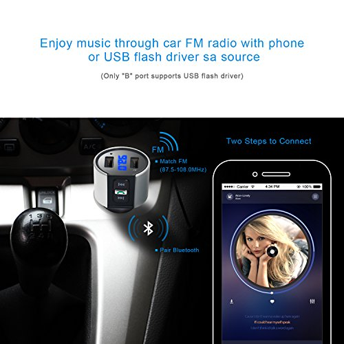 Large Product Image of Bluetooth FM Transmitter for Car, Wireless Bluetooth FM Radio Adapter Car Kit with Hands-Free Calling and 2 Ports USB Charger 5V/2.4A&1A.