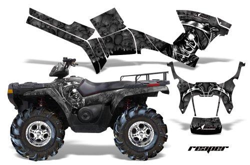 (AMRRACING Polaris Sportsman 800/500 2005-2009 Full Custom ATV Graphics Decal Kit - Reaper Black)
