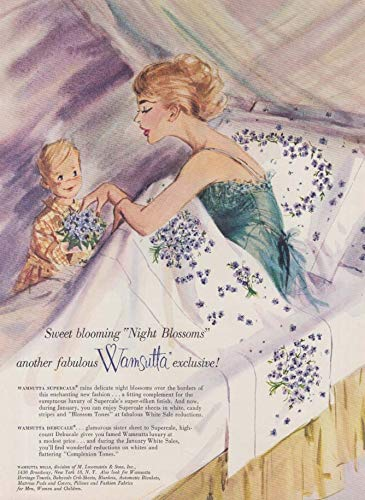 Sweet blooming Night Blossoms Wamsutta Sheets ad 1960 Gannam redhead & son NY