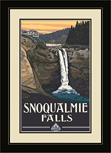 Northwest Art Mall PAL-0387 MFGDM Snoqualmie Falls Framed Wall Art by Artist Paul A.Lanquist, 13 by - Snoqualmie Mall
