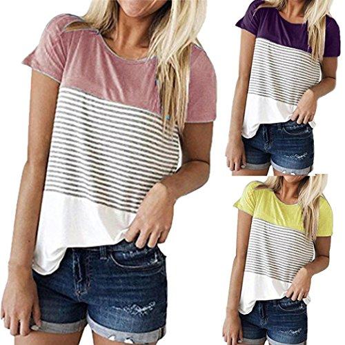 shirt courtes occasionnels ray couleur Rose T bloc Femmes Blouse triple manches Tefamore Bwqv4YEx8E
