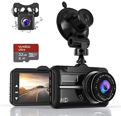 Dash Cam, Front and Rear Car Camera with FHD 1080P 3 Inch LCD Screen, 32G SD Card Included, Equipped with 170 Wide Angle, Night Vision, G-Sensor, Parking Monitor, Loop Recording