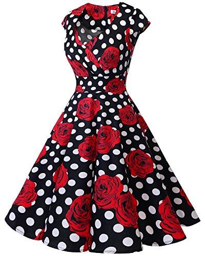 Mujer Corto 50 White Vestido Años Black En Escote Pico Bbonlinedress Retro Rose Vintage ACwpaAq