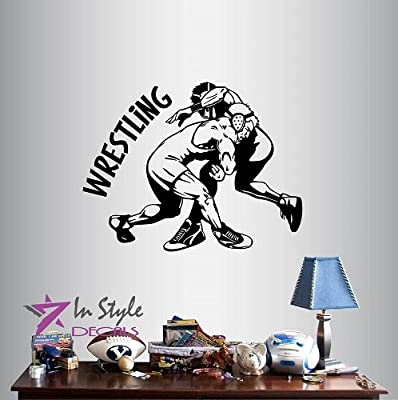 Wall Vinyl Decal Home Decor Art Sticker Wrestling Match Sports Sportsman Wrestlers Gym Home Fitness Room Removable Stylish Mural Unique Design
