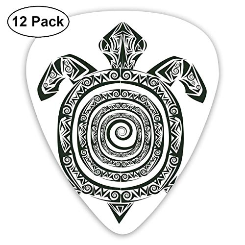 Celluloid Guitar Picks - 12 Pack,Abstract Art Colorful Designs,Maori Tattoo Style Figure Of Sea Animal In Tribal Spiral Form Ancient Tropical Theme,For Bass Electric & Acoustic Guitars.