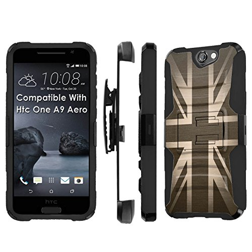 Htc [One A9] Armor Case [SlickCandy] [Black/Black] Heavy Duty Defender [Holster] [Kick Stand] - [British Flag] for Htc One [A9 Aero]