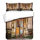 iPrint 3Pcs Duvet Cover Set,Rustic Home Decor,Damaged Shabby House with Boarded Up Rusty Doors and Mold Windows Home Decor,Multi,Best Bedding Gifts for Family/Friends