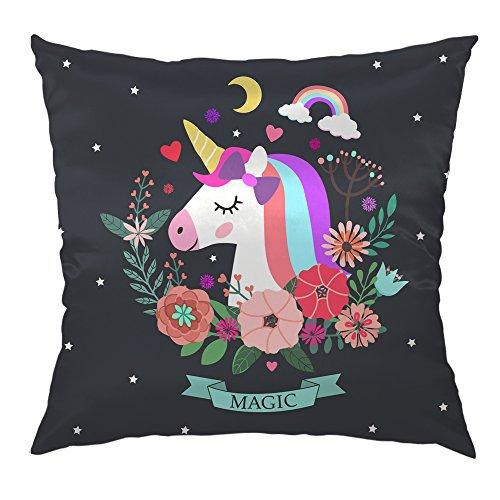 Moslion Unicorn Pillow Home Decor Throw Pillow Cover Case Unicorn and Magic Satin Cushion Cover Silk Standard Pillow Cases for Men Women Girls Boys Kids Children Sofa Bedroom Livingroom 18x18,Multi