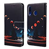 EnjoyCase Wallet Case for Huawei P Smart 2019,Colorful Earth Pattern Pu Leather Bookstyle Card Slots Magnetic Flip Cover With Hand Strap for Huawei P Smart 2019