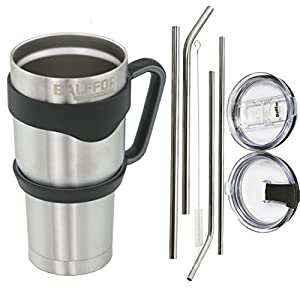 Rumbler Double Wall Vacuum Insulated Stainless Steel Tumbler with Handle 30oz Bundle: 1 Mug - 4 Straws ( 2 Wide, 2 Slim) - 1 Cleaner - 1 Spill Proof Lid - 1 Spill & Splash Resistant Lid - 1 Handle