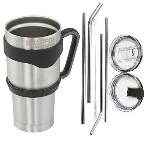 Rumbler Double wall Vacuum Insulated Stainless Steel Tumbler with Handle 30oz Bundle: 1 Mug - 4 Straws ( 2 Wide, 2 Slim) - 1 Cleaner - 1 Regular Lid - 1 Spill & Splash Resistant Lid - 1 Handle