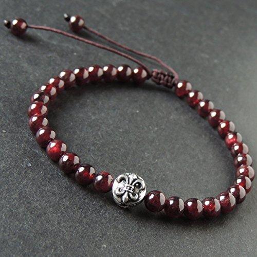 Men and Women Adjustable Braided Drawstring Bracelet Handmade with 5.5mm Garnet and Genuine 925 Sterling Silver Fleur de Lis - Bracelet Stretch Lis Fleur De