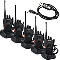 Retevis H-777 2 Way Radio UHF 400-470MHz 3W 16CH with Earpiece Walkie Talkie Amateur Radio Ham Radio (5 Pack) and USB Programming Cable