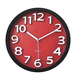 Tempus® TC62127R Contemporary Wall Clock with Raised Contrasting Numerals and Silent Sweep Quiet Movement, 13, Red/Black