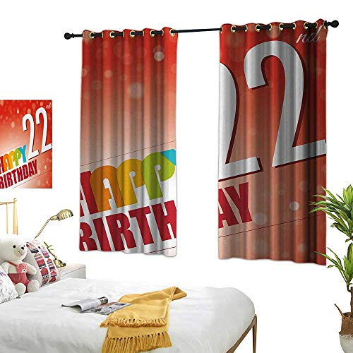 Anshesix Mildew Polyester Fabric Curtain 22nd Birthday Invitation to Happy Celebration of A New Age Bokeh Effect Style Art Print W55 xL72 Red White Suitable for Bedroom Living Room Study,etc. -